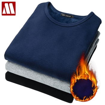 Jesienno-zimowa męska koszulka termiczna z miękkiego aksamitu gruba koszulka z długim rękawem męska czarna biała Slim Fit Plus rozmiar 5XL tshirt homme tanie i dobre opinie MYDBSH Pełna CN (pochodzenie) O-neck tops Tees Long Sleeve Suknem COTTON spandex Smart Casual Stałe 10 Colors S M L XL 2XL 3XL 4XL 5XL