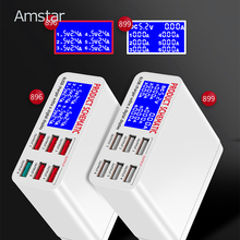 Amstar 6 Poorten 40W Usb Charger Quick Charge 3.0 Snelle Usb Opladen Dock Station Met Led Display Voor Iphone xs Samsung S9 Xiaomi