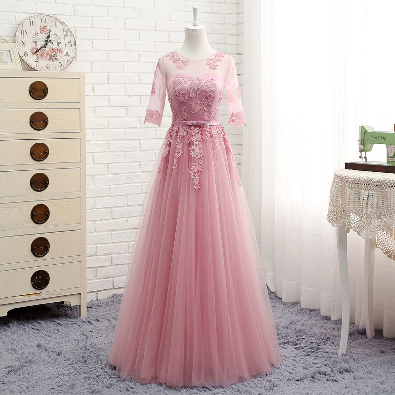 MNZ~M808#half Sleeve Round Embroidery Lace Up Spring 2019 New Party Prom Dress Medium Long Short Style Pink Bridesmaid Dresses