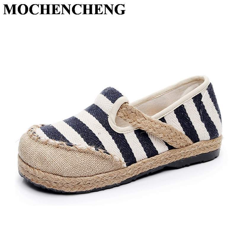 New Women Slip-on Casual Shoes for Spring Summer Breathable Hemp Ethnic Style Striped Shollow Flat Leisure Shoes Lazy Loafers sweet women high quality bowtie pointed toe flock flat shoes women casual summer ladies slip on casual zapatos mujer bt123