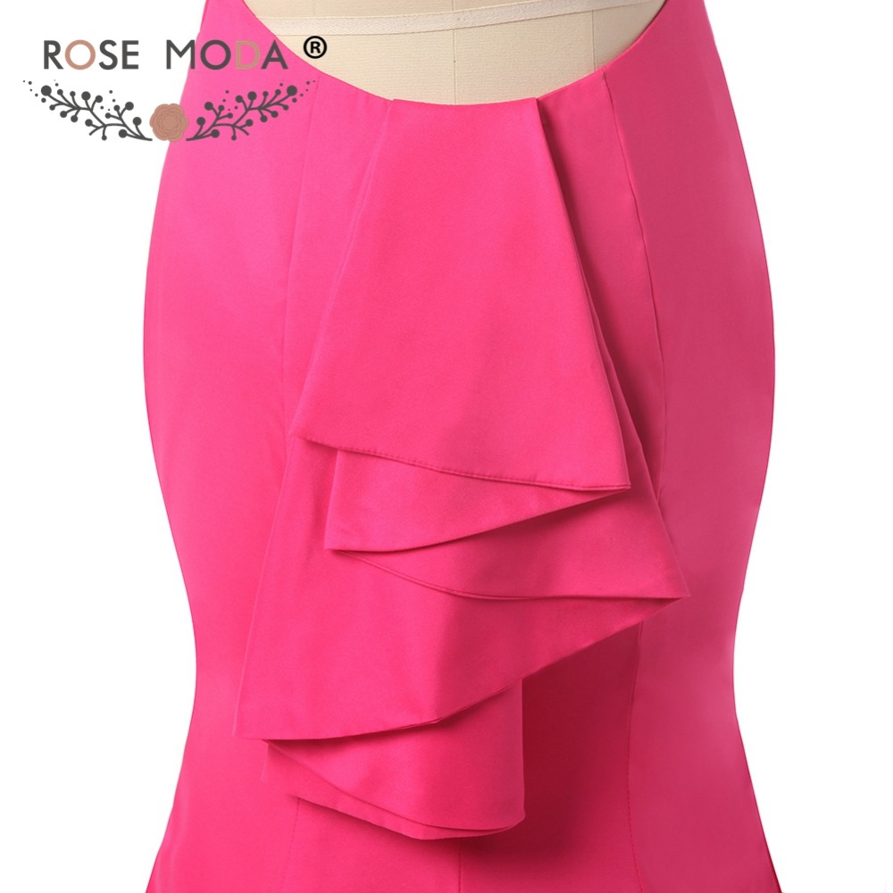 ⃝Rose moda backless Hot pink sirena vestido backless atractivo ...