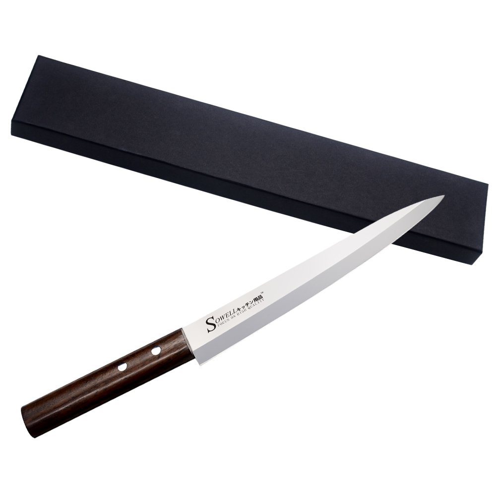 SOWELL Brand 8 Inch Sashimi Knife High Grade 5cr15mov Stainless Steel Knife Monzo Handle One Black