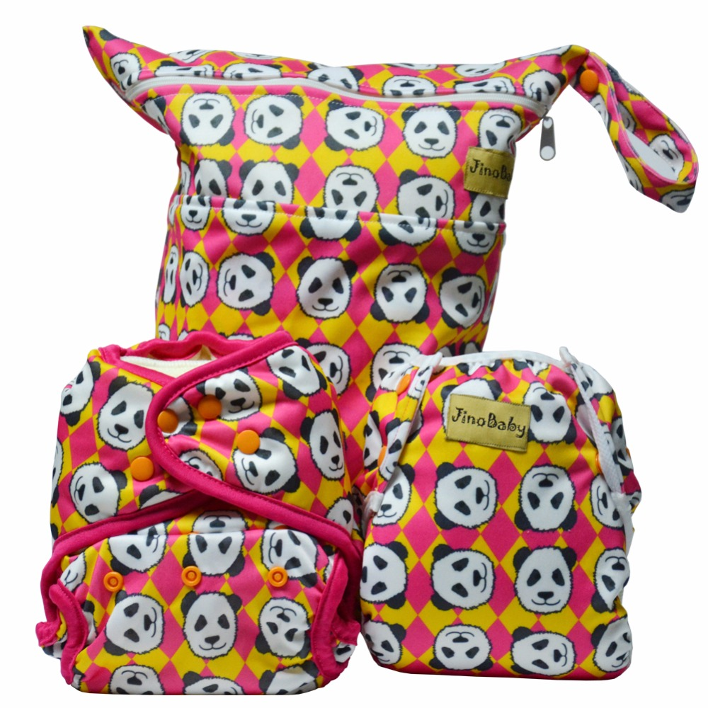 Big Panda Purrrrfect O.N.E. Bamboo Baby Diapers (One Size Cloth Diaper+Swim Diaper+Wet Bag) hangqiao baby 3 layers white burp cloths cloth diapers cotton diapers diapers diaper
