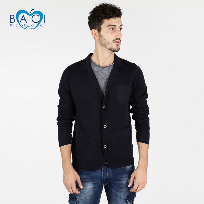 KISS & HUG Men's Cardigan With Buttons-dark Blue
