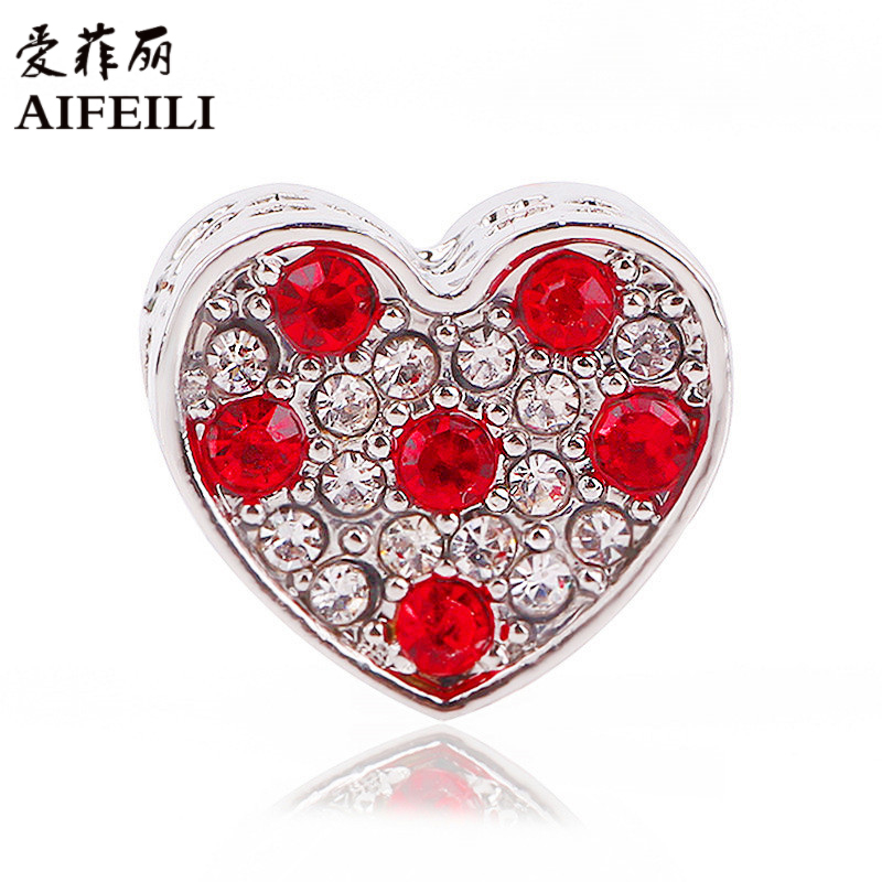 AIFEILI Fit Authentic Pandora Charms Bracelet Original Princess Heart With Pink CZ Silver Color Jewelry Beads For Berloque