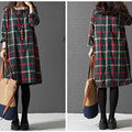 Colorful Plaid Cotton and linen Maternity Dresses with A Line Design Plus Size Loose Autumn Clothes for Pregnant Women CE207