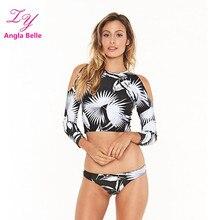 Bikini Set Surfing Swimwear Women Swimsuit Tankini Swim Wear Long Sleeve Swimming Suit Low Waist Summer Beach Bathing Suit