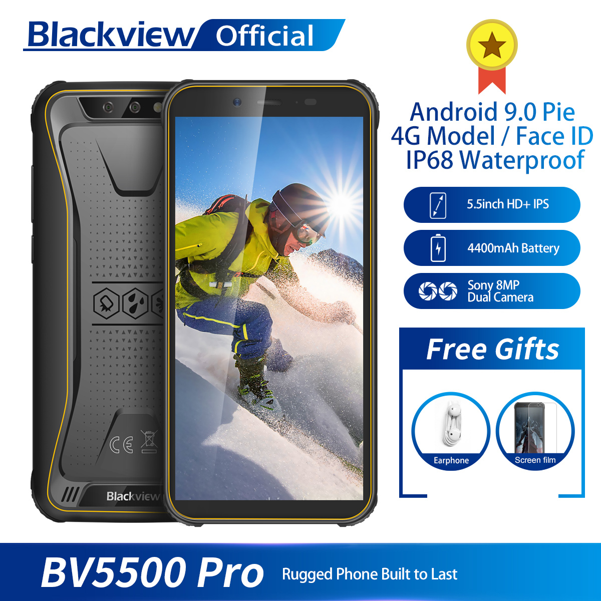 "Blackview BV5500 Pro IP68 Waterproof 4G Mobile Phone 3GB+16GB 5.5"" Screen 4400mAh Android 9.0 Pie Dual SIM Rugged Smartphone"
