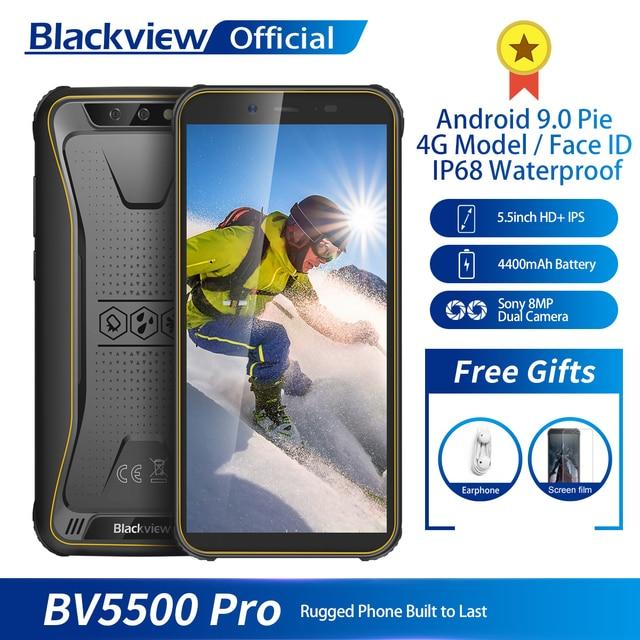 "Blackview BV5500 פרו IP68 עמיד למים 4G נייד טלפון 3 GB + 16 GB 5.5 ""מסך 4400 mAh אנדרואיד 9.0 עוגה כפולה SIM המוקשח Smartphone"
