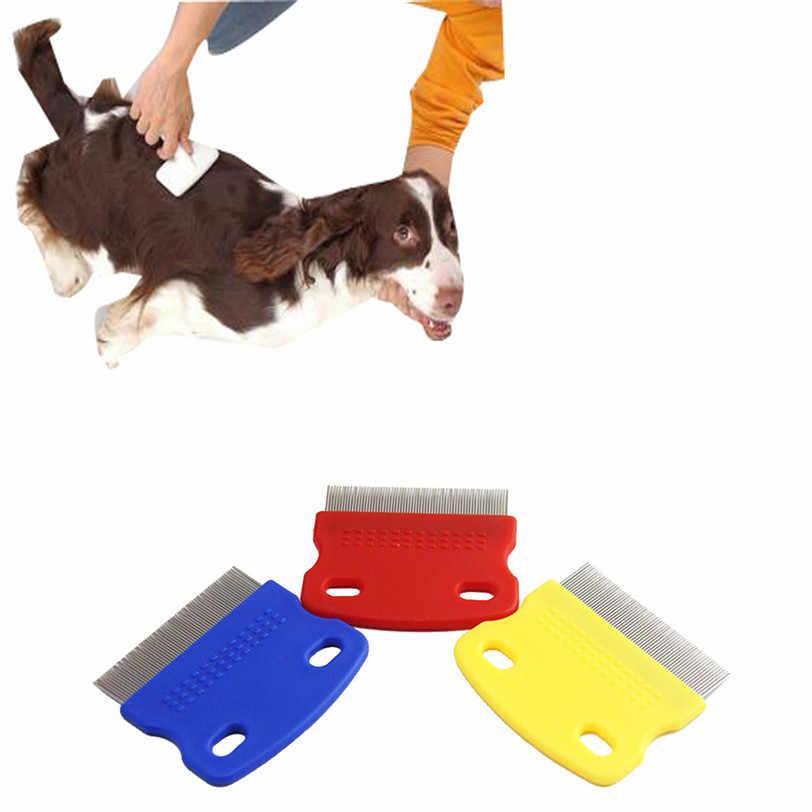 ペットヘアコーム犬グルーミング櫛鋼小さな細かい歯ペットノミ子犬子猫ヘアトリマーグルーミングツールドロップシッピング