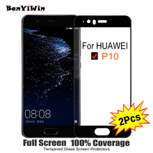 2PCS Full Cover Screen Protector Tempered Glass For Huawei P10 5 10 9H Protective glass For