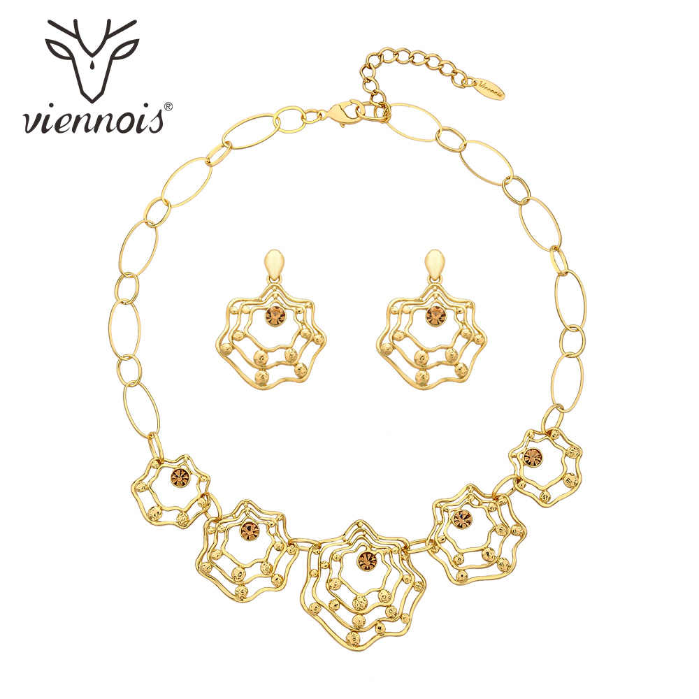 Viennois New Gold Color Earrings Necklace Set For Women Geometric Party Jewelry Set 2019