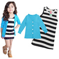 Free delivery of new clothes 2017 spring fashion children girl blue shirt + striped suit dress girl clothes
