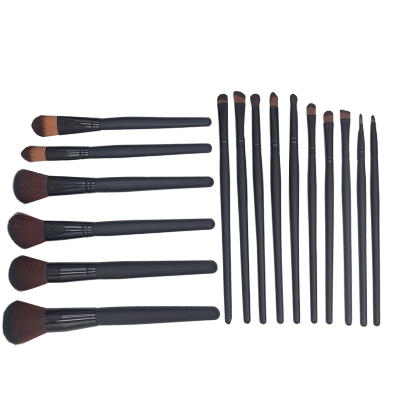 16pcs beauty Makeup Brushes Blcak Powder Brush foundation brush set soft hair with PU case esponja maquiagem Beauty Make Up tool