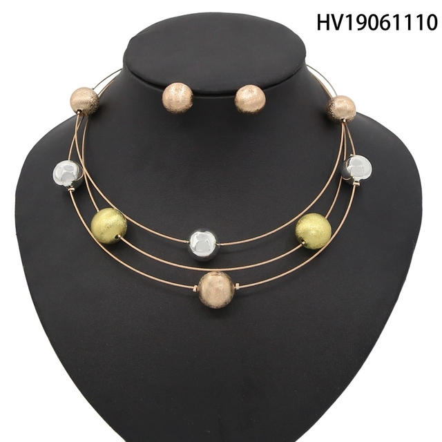 Yulaili New Fashion African Simple Vintage Design Tricolor Round Thin Necklace Earrings Dubai Gold Jewelry Set for Women Party