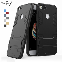 Wolfsay Cover For Xiaomi Mi5X Case Slim PC + Soft Rubber Armor Phone Case For Xiaomi 5x Mi 5x Cover Phone Holder Stand Fundas