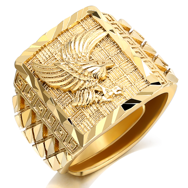 Punk Rock Eagle Men 's Ring Luxury Gold Color Resizeable To 7-11 Finger Jewelry