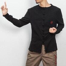 Black White China's Embroidery Cotton Linen Shirts Men Fashion Casual Long Sleeve Kongfu Shirt