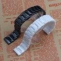 Черный Белый керамические ремешки для наручных часов мужчины женщины смотреть аксессуары ремешок браслет группа 14 16 мм 18 мм 20 мм керамические часы band металлической пряжкой