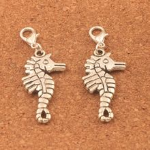 50pcs 46.3x16.6mm Tibetan silver Hippocampus Animal Lobster Claw Clasp Charm Beads Jewelry DIY C026 triangular arrow lobster claw clasp charm beads 24 4x4 6mm 200pcs tibetan silver jewelry diy c462