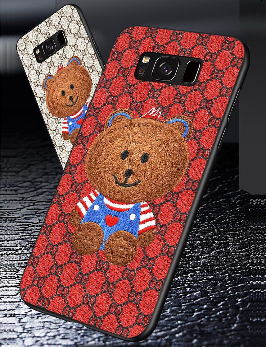 Милая сумка медведь для samsung S9 S8 3D вышивка сзади чехол Galaxy S8/S9 plus + прочный
