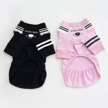 2017 New Pet Dog Cotton Clothes Solid Color Striped Dress Fashion Summer Pet Dog Cat Supplies Y9