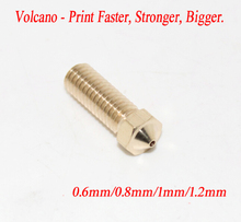 New Volcano 3D printer All metal brass 3D Lengthen extruder nozzle 0.6/0.8/1.0/1.2mm For 1.75/3mm supplies Free shipping