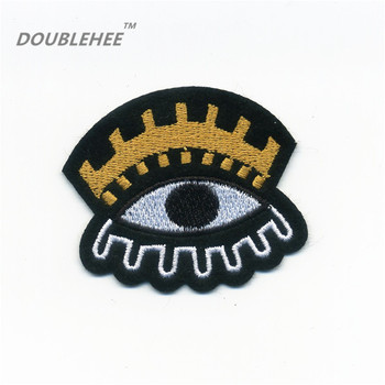 DOUBLEHEE 5.5cm*4.8cm Embroidered Iron On Patches Eye Design Embroidery Badges for diy Garments Coat Hat Shoes accessories