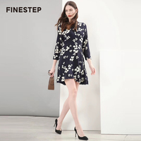 100 Real Silk Dress For Women Summer Vintage Flowers Printed Dresses Luxury Women Dress 2018
