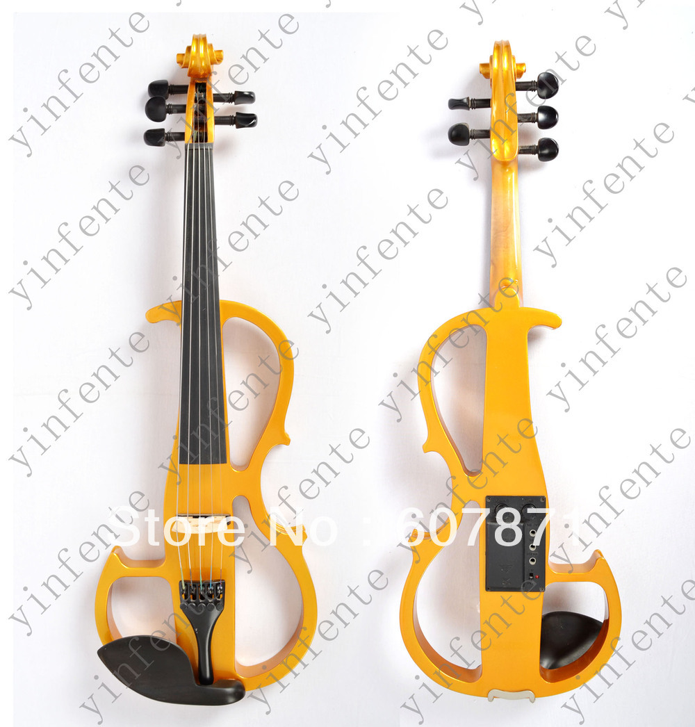 yinfente New red   4/4 Electric violin silent wonderful tone Any color handmade new solid maple wood brown acoustic violin violino 4 4 electric violin case bow included