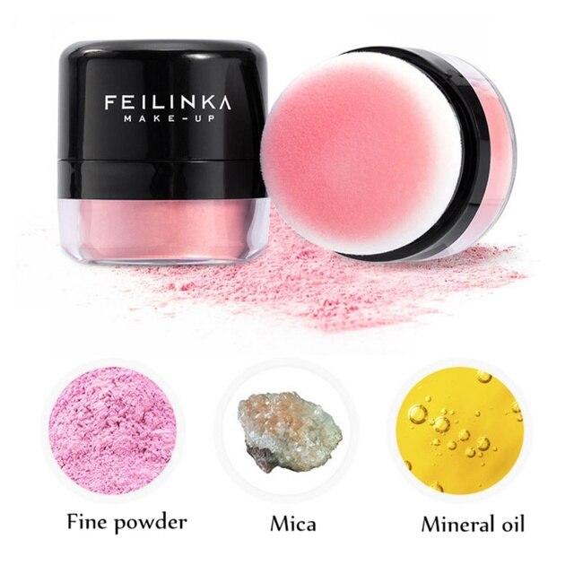 Maquillaje facial cara rubor hidratante polvo de larga duración prensado base cara colorete con Puff Maquiagem