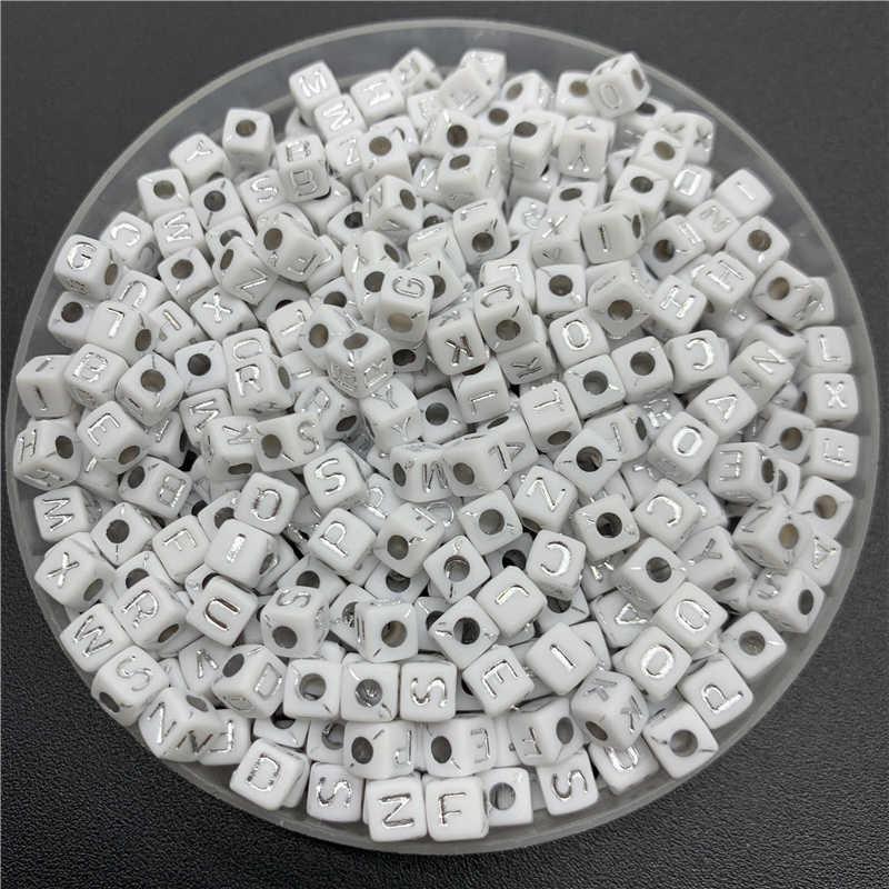 100 cái/lốc 5mm Acrylic Spacer Hạt Letter Hạt Quảng Trường Bảng Chữ Cái Hạt Đối Với Trang Sức Làm TỰ LÀM Phụ Kiện Handmade