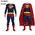 Alta calidad superman returns cosplay hero superman traje adulto traje zentai con el logotipo de 3d con el cabo por encargo fullbod