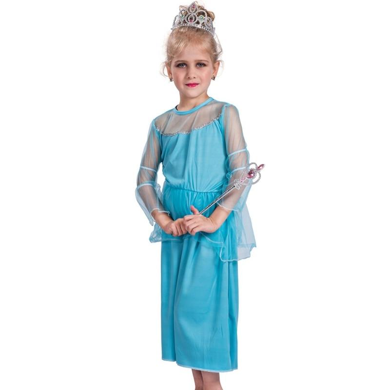 Child Kids Girls Ice Blue Snow Queen Princess Fancy Dress Costume