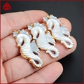 Wholesale Charm for Pendants! New Arrival Gold Plated Natural White Shell Carved Sea Horse Charm for Necklaces G1200