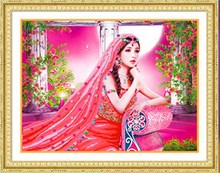 DIY Beauty girl diamond painting full Round Arab Diamond embroidery pretty women cross stitch