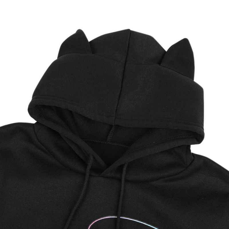 Уютная толстовка с капюшоном с кошачьими ушками и шнуровкой, укороченная Толстовка с длинным рукавом, Женский пуловер с капюшоном и рисунком кота, укороченная верхняя одежда harajuku KPOP