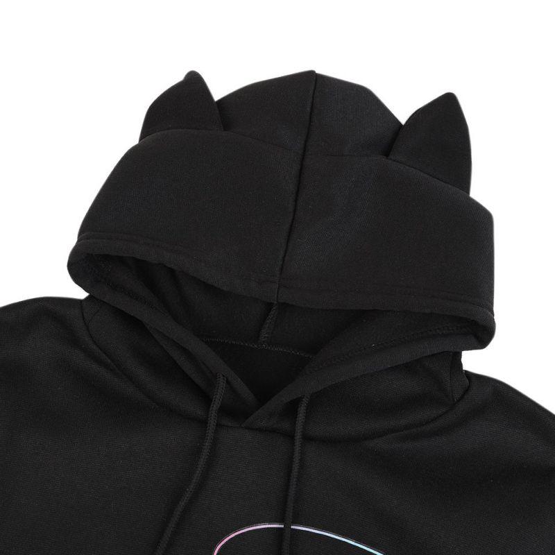 Cropped Hoodie Cosy Sweatshirt Cat Ear Bangtan Boy Print Top Clothes Long Sleeve