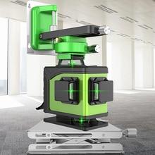 מקצועי 16 קו 4D לייזר רמת 360 אנכי ואופקית לייזר רמת עצמי פילוס צלב קו 4D לייזר רמה עם חיצוני