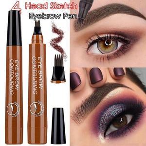 4 Head Sketch Eyebrow Microblading Tattoo Cosmetics Pencils Waterproof Fork tip Eyebrow Tattoo Pen Fine Sketch Enhancer Korean(China)