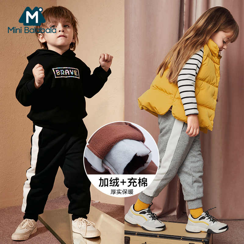 Mini Balabala 2018 Autumn and winter warm pants baby girls plus velvet thicken leggings kids winter trousers for girl baby warm