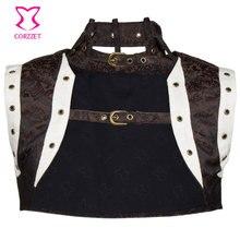 Brown White Brocade Sexy Sleeveless Steampunk Corset Women Jacket Plus Size Bolero Gothic Clothing Burlesque Costume