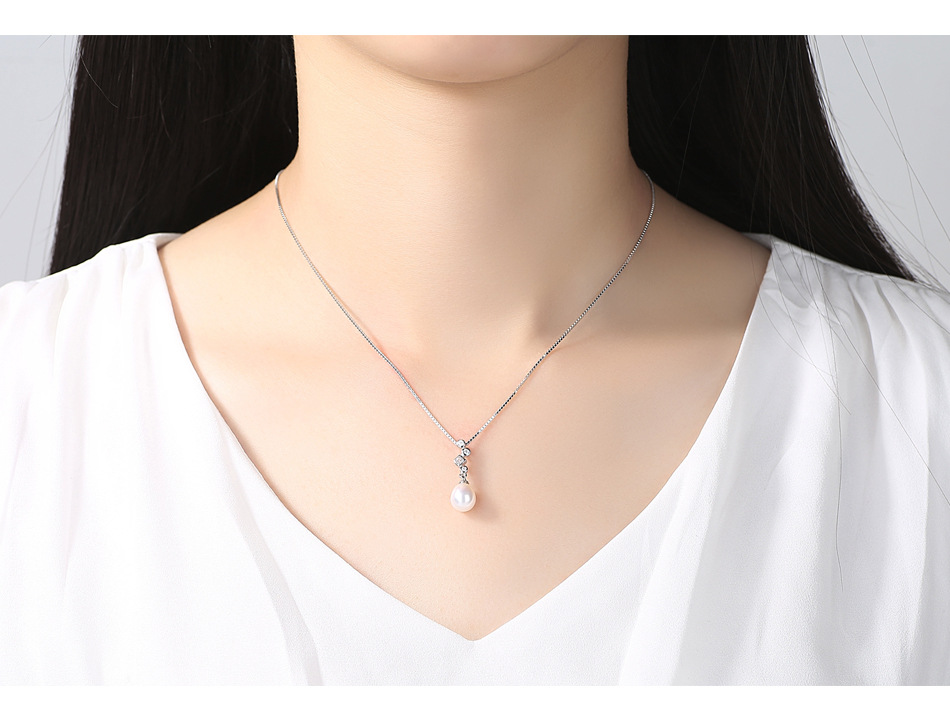 S925 sterling silver necklace female natural freshwater pearl micro inlaid zircon simple versatile item CLS11