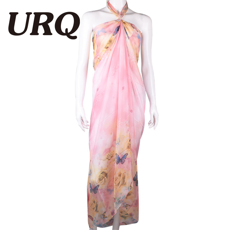 190*150cm Summer Print Silk   Scarf   Oversized Chiffon   Scarf   Women   Wrap   Sarong Sunscreen Pareo Beach Cover Up Long Cape 348