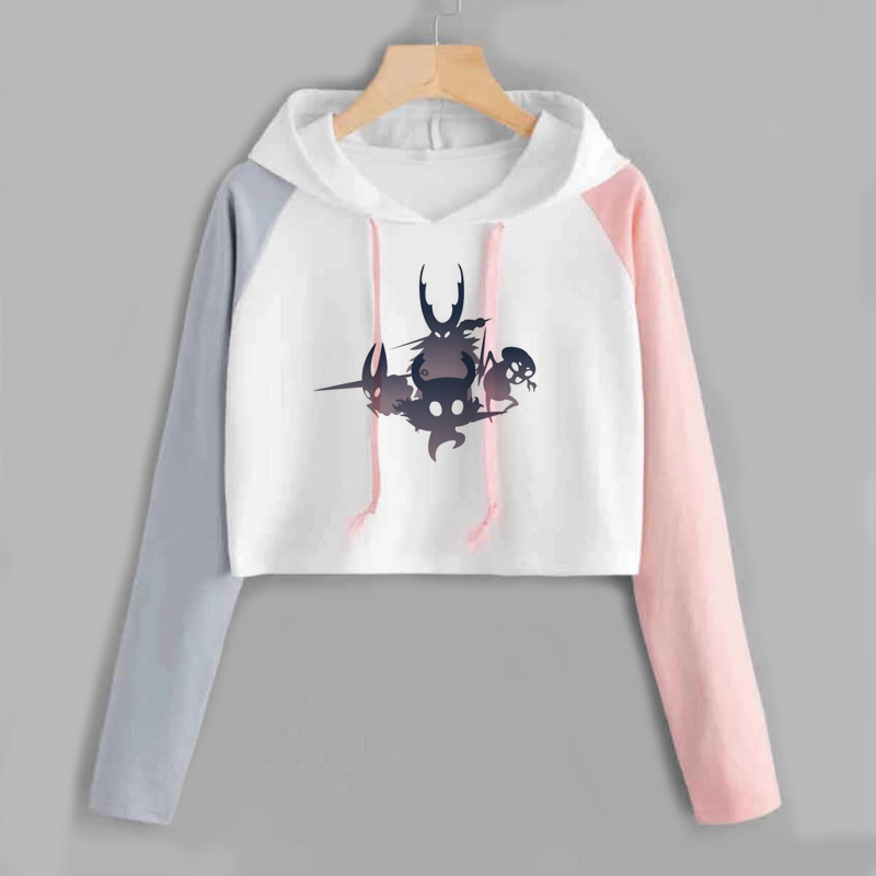 Hollow Knight Crop Top Hoodie Women Long Sleeve Spring Autumn Harajuku Loose Pink Female Ladies Clothes Poleron Mujer Cropped