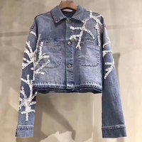 Short Coat Denim Women Jacket with Long Sleeve High Fashion Floral Denim Jacket Women 2019 Female Coat with Single Breasted