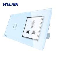 WELAIK Brand 2Frame Multifunct Socket Crystal Glass Panel Wall Switch EU Touch Switch Screen AC110 250V
