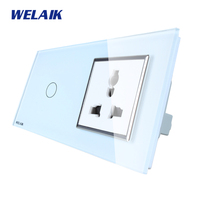 WELAIK Brand 2Frame Multifunct Socket Crystal Glass Panel Wall Switch EU Touch Switch Screen AC110 250V