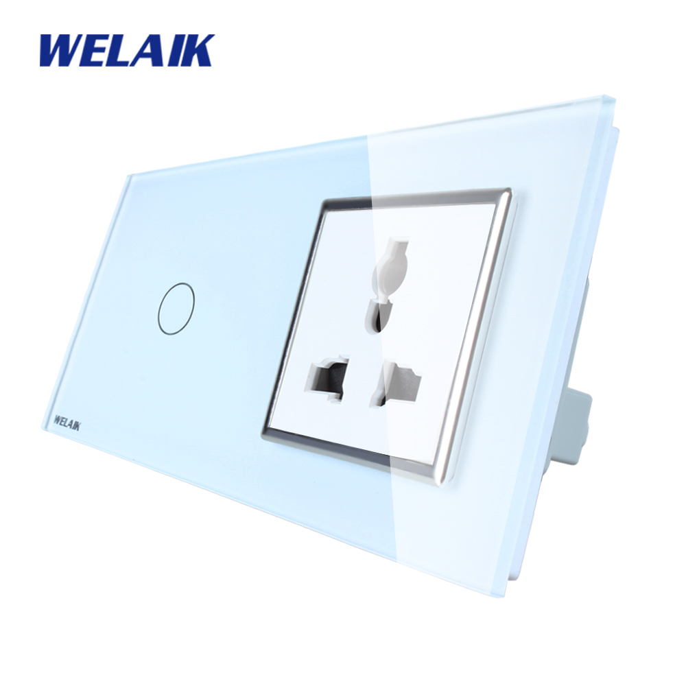 WELAIK Brand 2Frame Multifunct socket Crystal Glass Panel  Wall Switch EU Touch Switch Screen AC110~250V 1Gang1Way A29118MUCW/B welaik glass panel switch white wall switch eu remote control touch switch screen light switch 1gang2way ac110 250v a1914w br01
