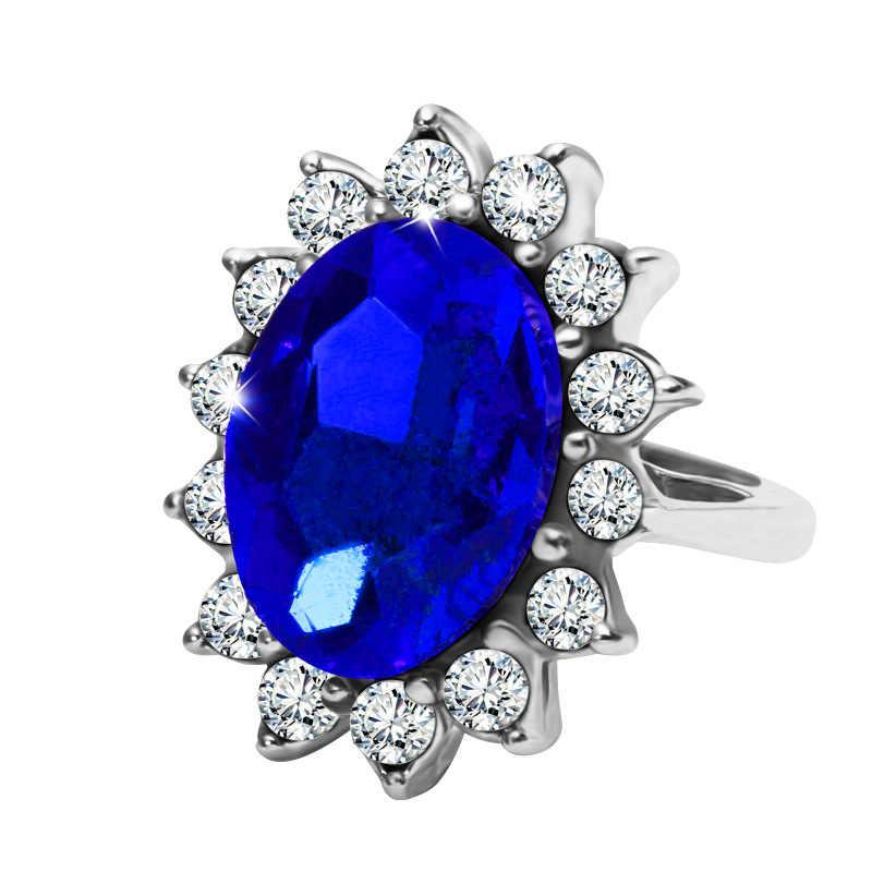 GB Trang Sức Cung Điện Công Nương Diana Cùng typeWilliam Kate Middleton của 3.2ct Xanh ngọc Đính Hôn hợp kim kẽm Nhẫn cho Nữ